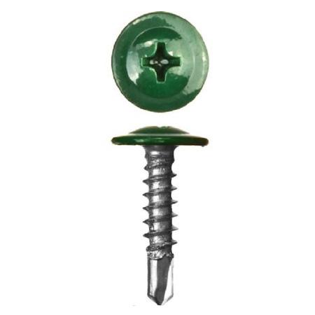 Саморез с прессшайбой Сверло RAL 6005 Зелёный мох